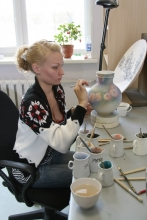 Drawing painting with a special ceramic paints intended for underglaze decoration.