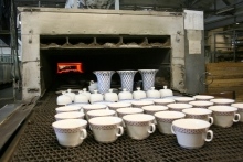 Kilning products after decorating in a furnace