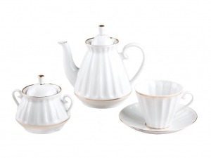 Lomonosov Imperial Porcelain Tea Set White 6/20p