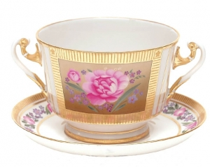 Lomonosov Imperial Porcelain Soup Bowl and Saucer Recollection 12.7 oz/360 ml