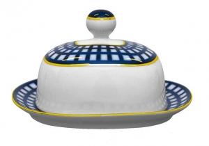 Lomonosov Imperial Porcelain Butter Holder Dish Quattro Cobalt Cell