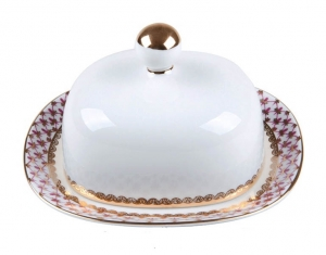 Imperial Porcelain Porcelain Butter Holder Dish Rectangular Red Net Blues