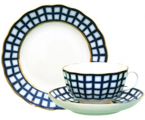 Russian Porcelain Cobalt Cell Tea Set 3pcs
