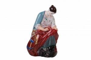 Flag Embroiderer Woman Figurine Lomonosov Porcelain Soviet Propaganda