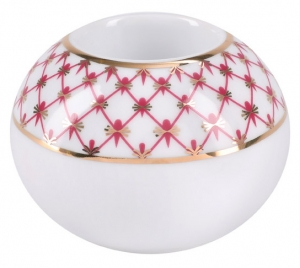 Lomonosov Porcelain Round Candle Holder Red Net