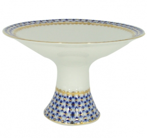 Lomonosov Imperial Porcelain Candy Fruit Vase Youth Cobalt Net 11.3
