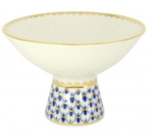 Lomonosov Imperial Porcelain Candy Ice Cream Vase Cobalt Net
