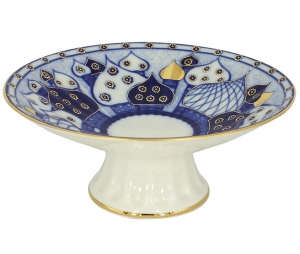 Lomonosov Imperial Porcelain Candy Vase Chuch Bells 7.6