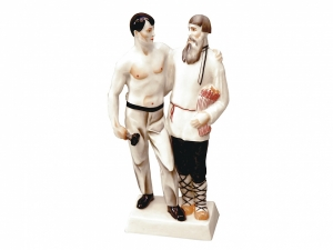 City and Country Meeting Lomonosov Porcelain Figurine Soviet Propaganda