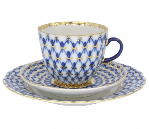 Lomonosov Imperial Porcelain Espresso Coffee Set 3 pc Tulip Cobalt Net