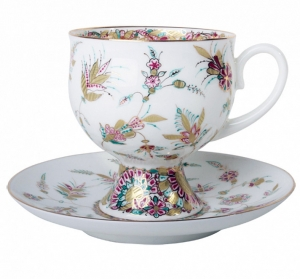 Bone China Coffee Set Cup and Saucer Golden Branch 5.41 oz/160 ml
