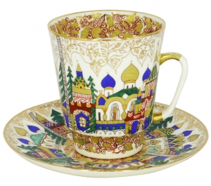 Lomonosov Imperial Porcelain Cup and Saucer Bone China May Old Russian Architecture 5.6 fl.oz/165 ml