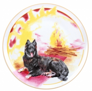 Decorative Wall Plate 2018 Year of Dog with Bonefire 7.7