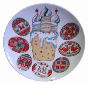 Decorative Wall Plate Easter Cake & Eggs 7.7