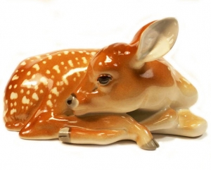 Deer Fawn Young Sleeping Lomonosov Imperial Porcelain Figurine