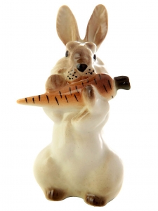 Easter Bunny Rabbit with Carrot Lomonosov Imperial Porcelain Figurine #3