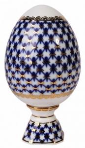Easter Egg on Stand Cobalt Net 22 karat Gold Lomonosov Imperial Porcelain