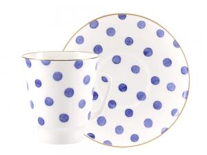 Lomonosov Bone China Porcelain Coffee Cup May Polka Dot 5.6 fl.oz 165 ml 2 pc