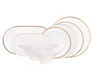Lomonosov Bone China Porcelain Dinner Set Yuliana Golden Ribbon 24 items for 6 persons