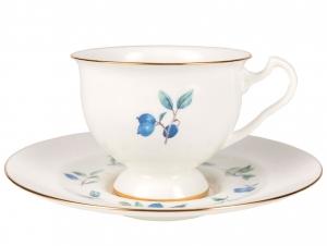 Lomonosov Imperial Bone China Tea Set Cup and Saucer Aisedora Blueberry 8.1 oz240 ml