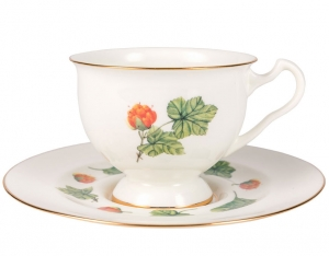 Lomonosov Bone China Tea Set Cup and Saucer Aisedora Cloudberry 8.1 oz/240 ml