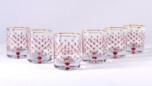 Lomonosov Glass Whiskey Lowball Red Net Set 6 pc