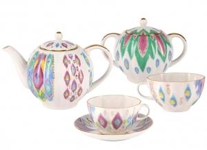 Lomonosov Imperial Porcelain Tea Set Tulip Peacock's Feather 6/14