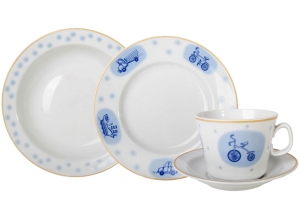 Lomonosov Imperial Porcelain Baby Set 4ps: Cups with saucer, Plate and Bowl Cars