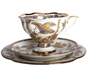 Lomonosov Imperial Porcelain Bona China Tea Cup Set 3 pc Fantastic Butterflies