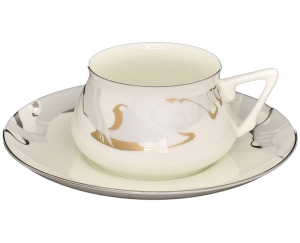 Lomonosov Porcelain Bone China Cup and Saucer Bilibina Crocus