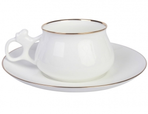 Lomonosov Imperial Porcelain Bone China Cup and Saucer Bilibina Golden Edge