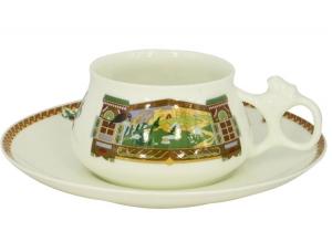Lomonosov Imperial Porcelain Bone China Cup and Saucer Bilibina Magical Landscape