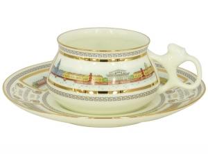 Lomonosov Imperial Porcelain Bone China Cup and Saucer Bilibina Neva Embankment