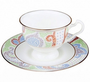 Lomonosov Imperial Porcelain Bone China Cup and Saucer Purple Marietal