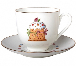 Lomonosov Imperial Porcelain Bone China Cup and Saucer Easter Cake