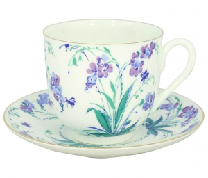 Lomonosov Imperial Porcelain Bone China Cup and Saucer Forget Me Not