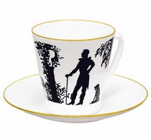 Lomonosov Imperial Porcelain Bone China Espresso Cup and Saucer Meeting