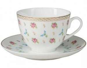 Lomonosov Imperial Porcelain Bone China Cup and Saucer Spring Flower Waltz