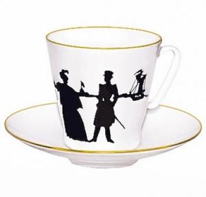Lomonosov Imperial Porcelain Bone China Espresso Cup and Saucer Walk