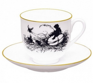 Lomonosov Imperial Porcelain Bone China Cup and Saucer a Boy