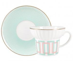Lomonosov Imperial Porcelain Bone China Espresso Coffee Cup Set Wave Geometry #4 5.24 oz 155 ml