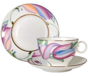 Lomonosov Imperial Porcelain Bone China Tea Cup Set 3 pc Apple Lia 5.4 oz
