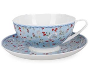 Lomonosov Imperial Porcelain Bone China Tea Cup and Saucer Dome Blue Chintz