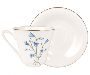 Lomonosov Imperial Porcelain Bone China Tea Set Cup and Saucer Bluebell Flower 7.3 fl.oz/200 ml