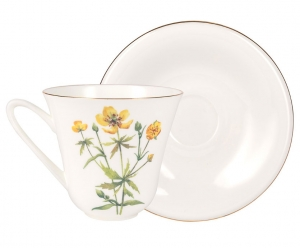 Lomonosov Imperial Porcelain Bone China Tea Set Cup and Saucer Buttercup Flower 7.3 fl.oz/200 ml