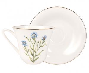 Lomonosov Imperial Porcelain Bone China Tea Set Cup and Saucer Cornflower 7.3 fl.oz/200 ml