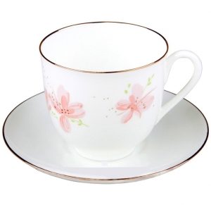 Lomonosov Imperial Porcelain Bone Cup and Saucer Pink Flowers