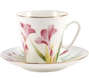 Lomonosov Imperial Porcelain Bone China Espresso Cup and Saucer Aquarelle 2.7 oz/80ml