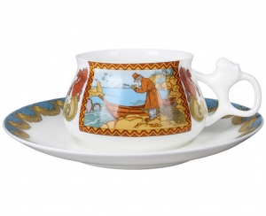 Lomonosov Imperial Porcelain Cup and Saucer Bilibina Fisherman and Golden Fish