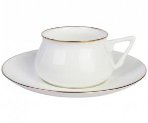 Lomonosov Imperial Porcelain Cup and Saucer Bilibina Golden Rim
